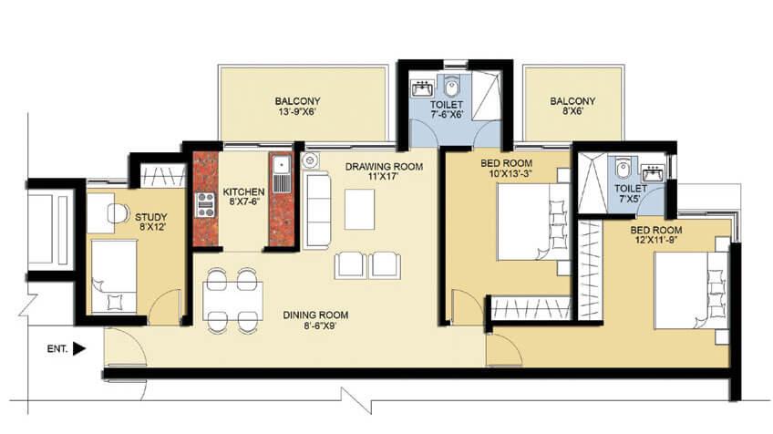 puri pratham floor plan 2BHK-1300sq.ft