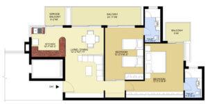 puri pratham floor plan 2BHK-1395sq.ft
