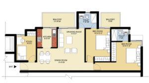 puri pratham floor plan 2BHK+Study-1300sq.ft